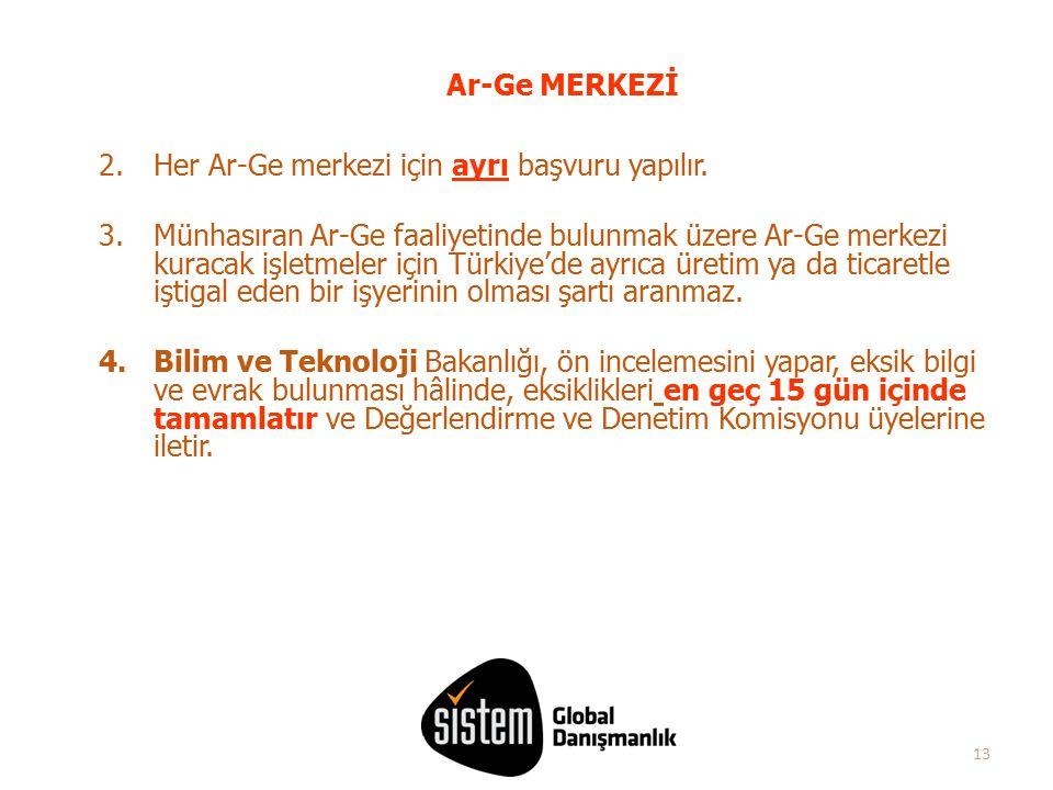 13 2.Her Ar-Ge merkezi için ayrı başvuru yapılır. 3.Münhasıran Ar-Ge faaliyetinde bulunmak üzere Ar-Ge merkezi kuracak işletmeler için Türkiye'de ayrı