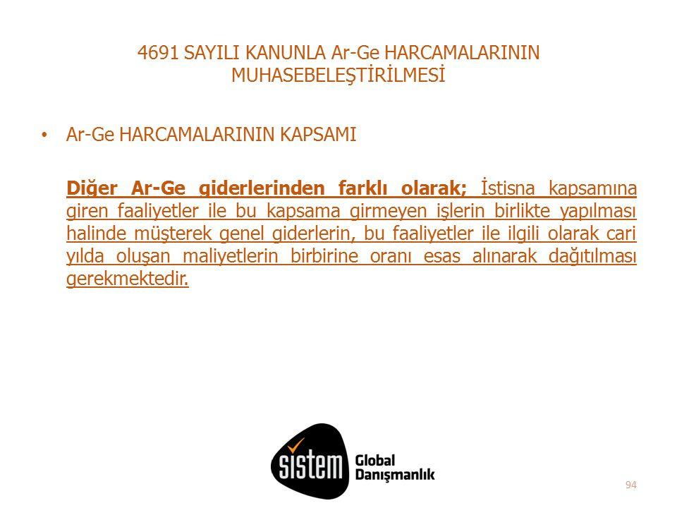 94 4691 SAYILI KANUNLA Ar-Ge HARCAMALARININ MUHASEBELEŞTİRİLMESİ Ar-Ge HARCAMALARININ KAPSAMI Diğer Ar-Ge giderlerinden farklı olarak; İstisna kapsamı