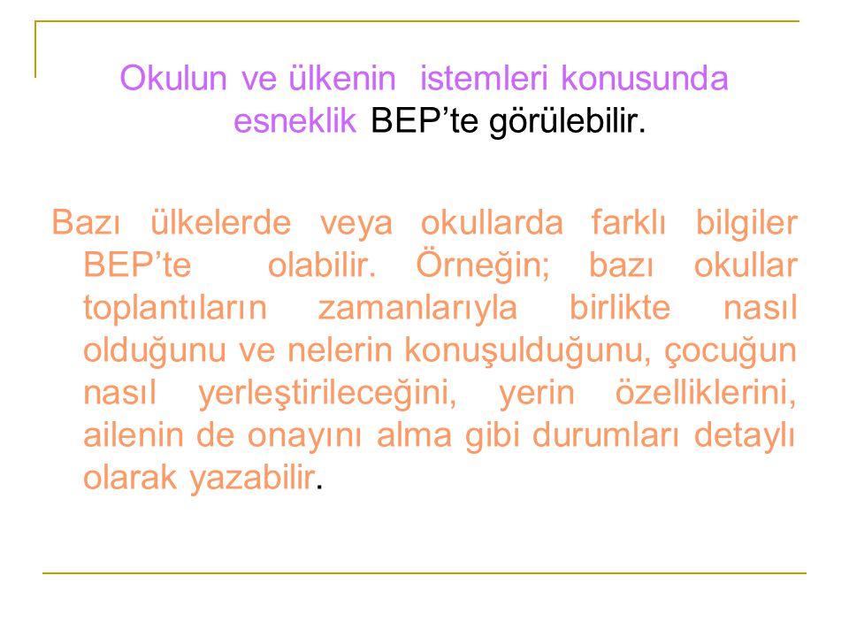 Okulun ve ülkenin istemleri konusunda esneklik BEP'te görülebilir. Bazı ülkelerde veya okullarda farklı bilgiler BEP'te olabilir. Örneğin; bazı okulla