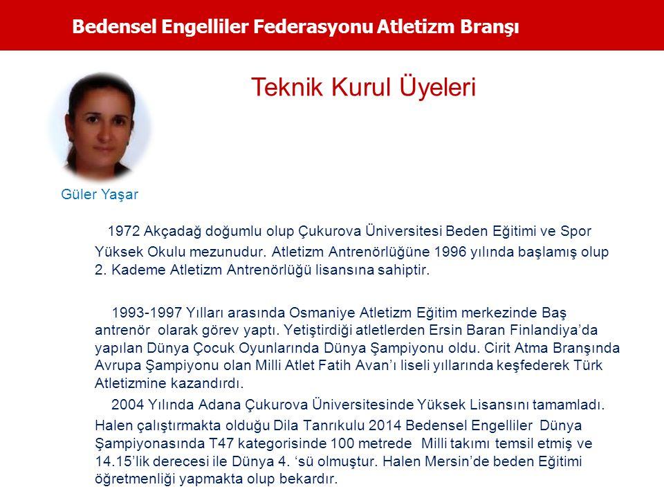 Bedensel Engelliler Federasyonu Atletizm Branşı 1972 Akçadağ doğumlu olup Çukurova Üniversitesi Beden Eğitimi ve Spor Yüksek Okulu mezunudur. Atletizm