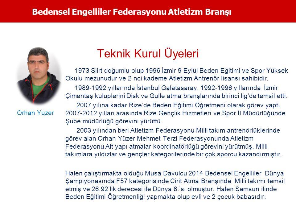 Bedensel Engelliler Federasyonu Atletizm Branşı Teknik Kurul Üyeleri 1973 Siirt doğumlu olup 1996 İzmir 9 Eylül Beden Eğitimi ve Spor Yüksek Okulu mez