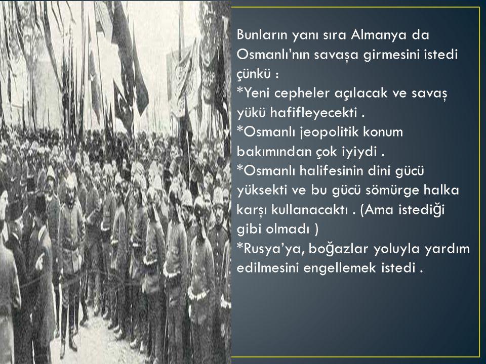 Bunların yanı sıra Almanya da Osmanlı'nın savaşa girmesini istedi çünkü : *Yeni cepheler açılacak ve savaş yükü hafifleyecekti.