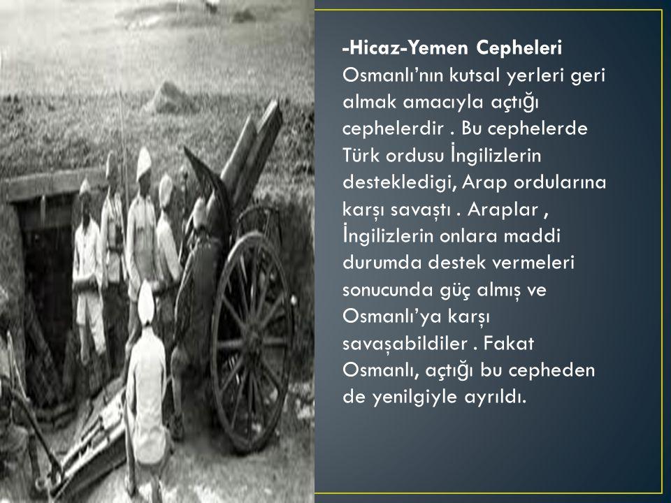 -Hicaz-Yemen Cepheleri Osmanlı'nın kutsal yerleri geri almak amacıyla açtı ğ ı cephelerdir.