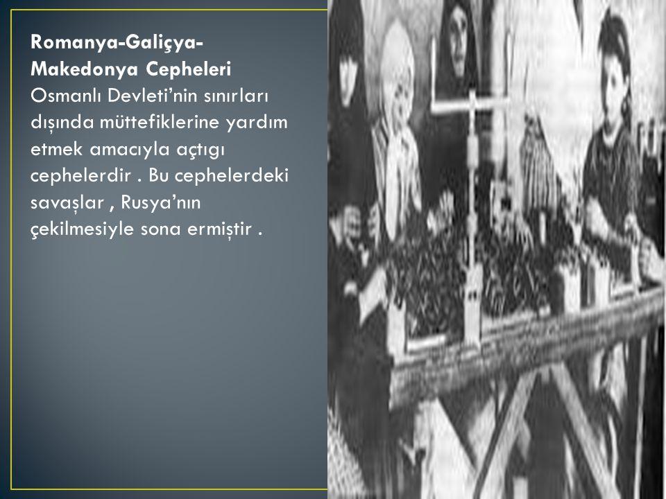 Romanya-Galiçya- Makedonya Cepheleri Osmanlı Devleti'nin sınırları dışında müttefiklerine yardım etmek amacıyla açtıgı cephelerdir.
