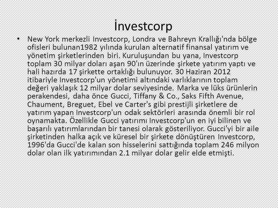 İnvestcorp New York merkezli Investcorp, Londra ve Bahreyn Krallığı'nda bölge ofisleri bulunan1982 yılında kurulan alternatif finansal yatırım ve yöne