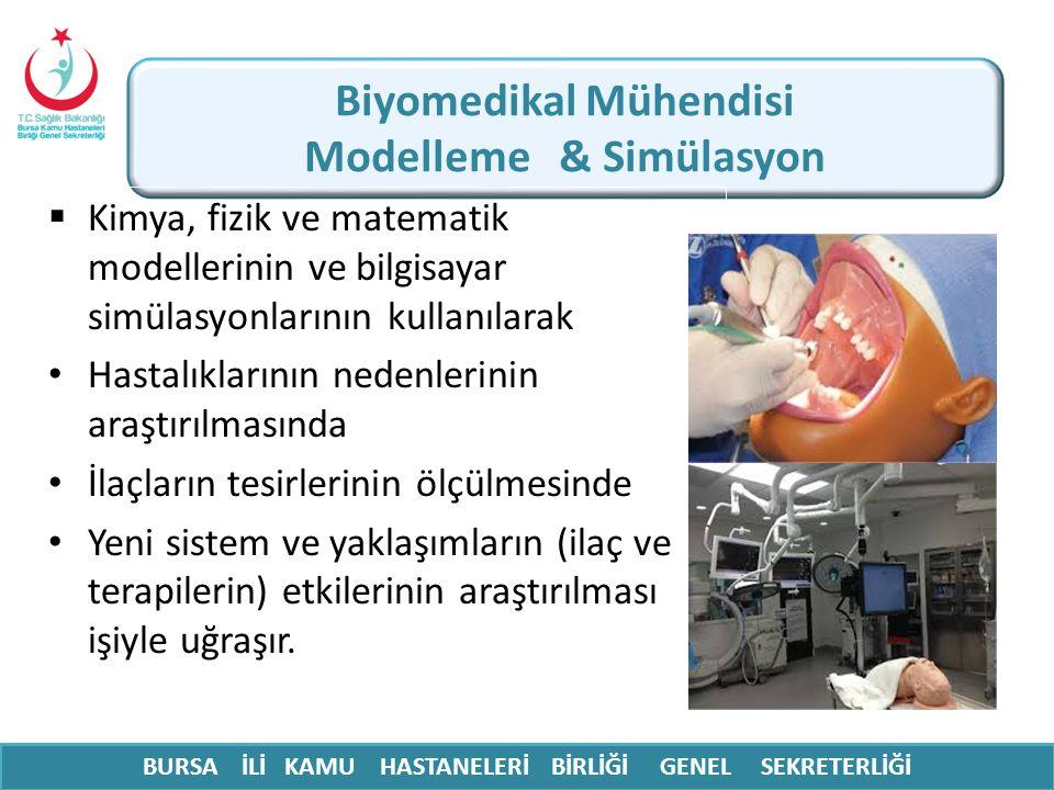 Biyomedikal Mühendisi Modelleme & Simülasyon  Kimya, fizik ve matematik modellerinin ve bilgisayar simülasyonlarının kullanılarak Hastalıklarının ned