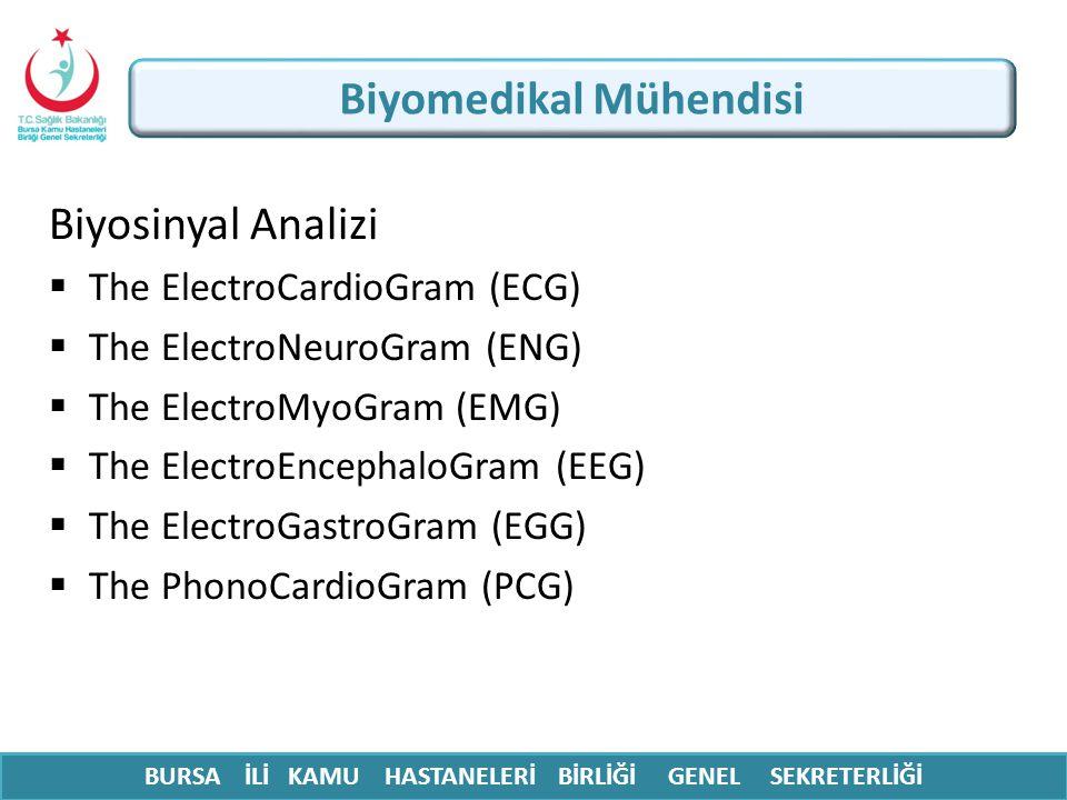 BURSA İLİ KAMU HASTANELERİ BİRLİĞİ GENEL SEKRETERLİĞİ Biyosinyal Analizi  The ElectroCardioGram (ECG)  The ElectroNeuroGram (ENG)  The ElectroMyoGr