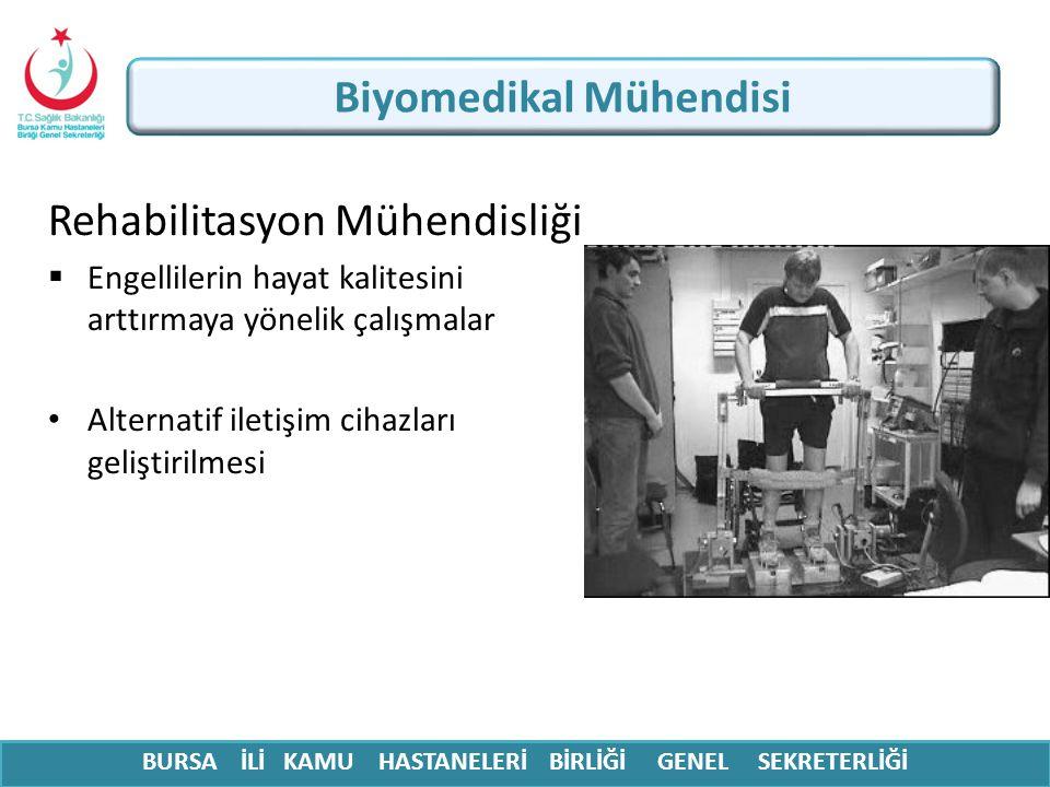 BURSA İLİ KAMU HASTANELERİ BİRLİĞİ GENEL SEKRETERLİĞİ Biyomedikal Mühendisi Rehabilitasyon Mühendisliği  Engellilerin hayat kalitesini arttırmaya yön