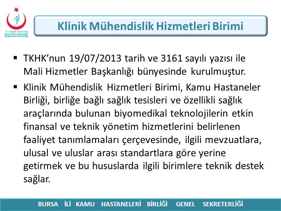  TKHK'nun 19/07/2013 tarih ve 3161 sayılı yazısı ile Mali Hizmetler Başkanlığı bünyesinde kurulmuştur.  Klinik Mühendislik Hizmetleri Birimi, Kamu H