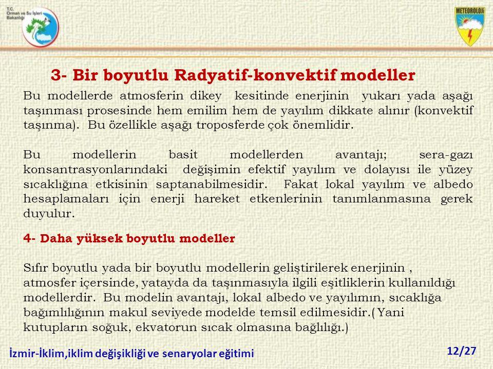 12/27 İzmir-İklim,iklim değişikliği ve senaryolar eğitimi 3- Bir boyutlu Radyatif-konvektif modeller Bu modellerde atmosferin dikey kesitinde enerjini