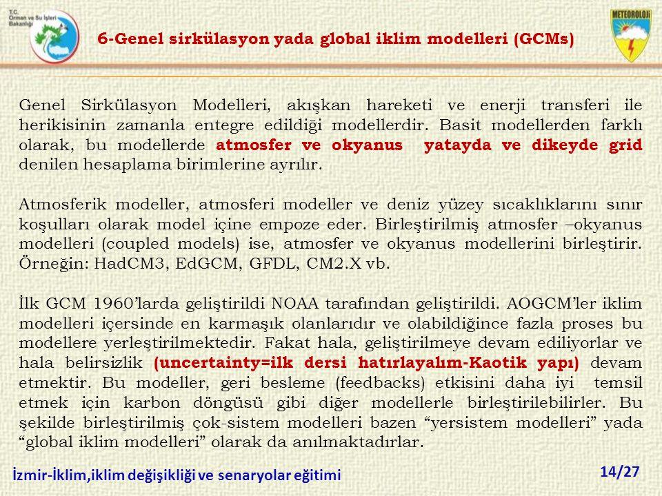 14/27 İzmir-İklim,iklim değişikliği ve senaryolar eğitimi Genel Sirkülasyon Modelleri, akışkan hareketi ve enerji transferi ile herikisinin zamanla en