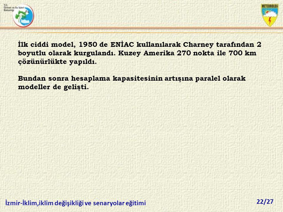 22/27 İzmir-İklim,iklim değişikliği ve senaryolar eğitimi İlk ciddi model, 1950 de ENİAC kullanılarak Charney tarafından 2 boyutlu olarak kurgulandı.