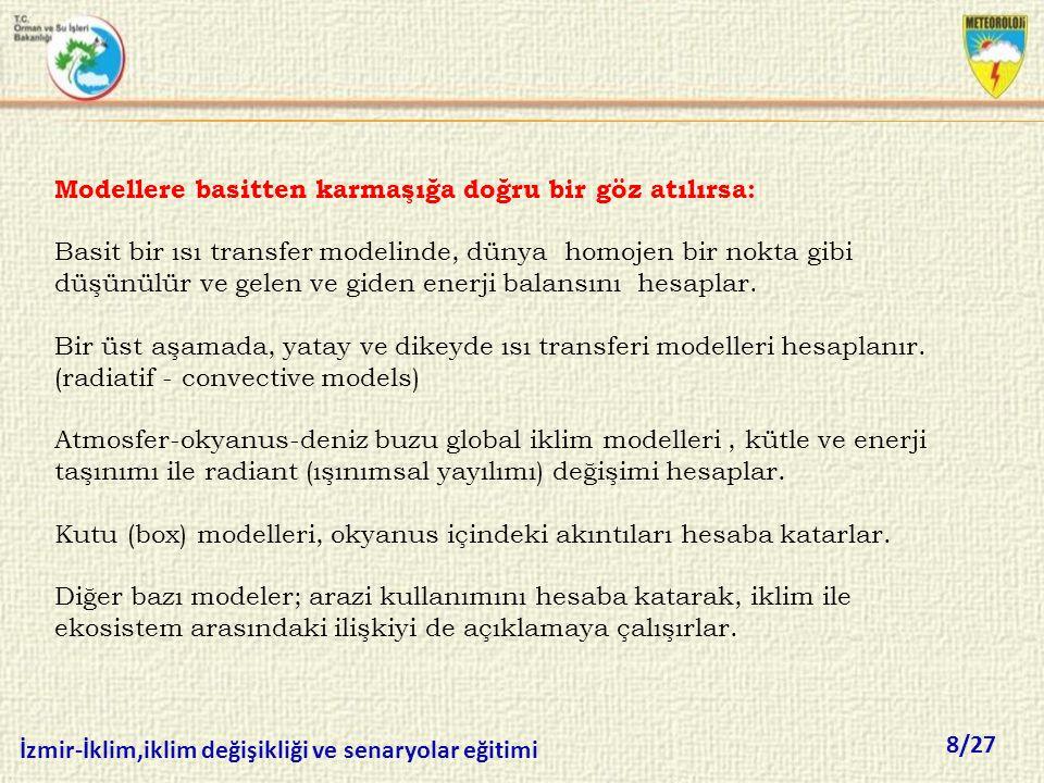 8/27 İzmir-İklim,iklim değişikliği ve senaryolar eğitimi Modellere basitten karmaşığa doğru bir göz atılırsa: Basit bir ısı transfer modelinde, dünya