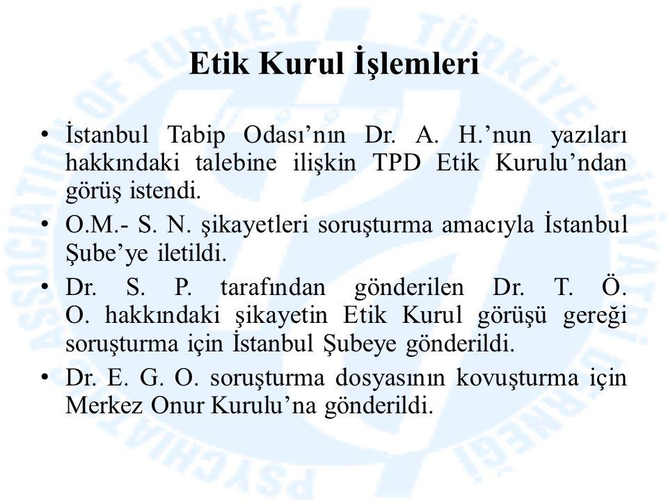 Etik Kurul İşlemleri İstanbul Tabip Odası'nın Dr. A. H.'nun yazıları hakkındaki talebine ilişkin TPD Etik Kurulu'ndan görüş istendi. O.M.- S. N. şikay
