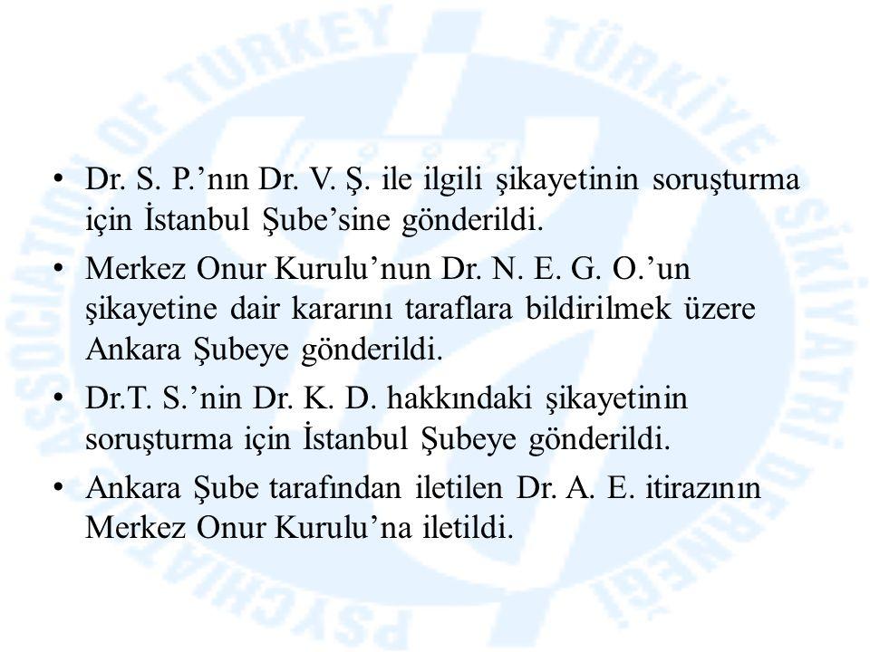 Dr. S. P.'nın Dr. V. Ş. ile ilgili şikayetinin soruşturma için İstanbul Şube'sine gönderildi. Merkez Onur Kurulu'nun Dr. N. E. G. O.'un şikayetine dai