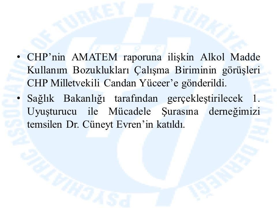CHP'nin AMATEM raporuna ilişkin Alkol Madde Kullanım Bozuklukları Çalışma Biriminin görüşleri CHP Milletvekili Candan Yüceer'e gönderildi. Sağlık Baka