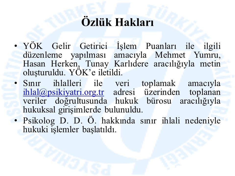 Özlük Hakları YÖK Gelir Getirici İşlem Puanları ile ilgili düzenleme yapılması amacıyla Mehmet Yumru, Hasan Herken, Tunay Karlıdere aracılığıyla metin