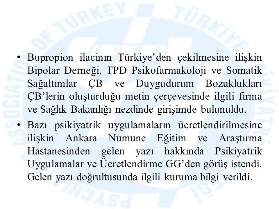 Bupropion ilacinın Türkiye'den çekilmesine ilişkin Bipolar Derneği, TPD Psikofarmakoloji ve Somatik Sağaltımlar ÇB ve Duygudurum Bozuklukları ÇB'lerin