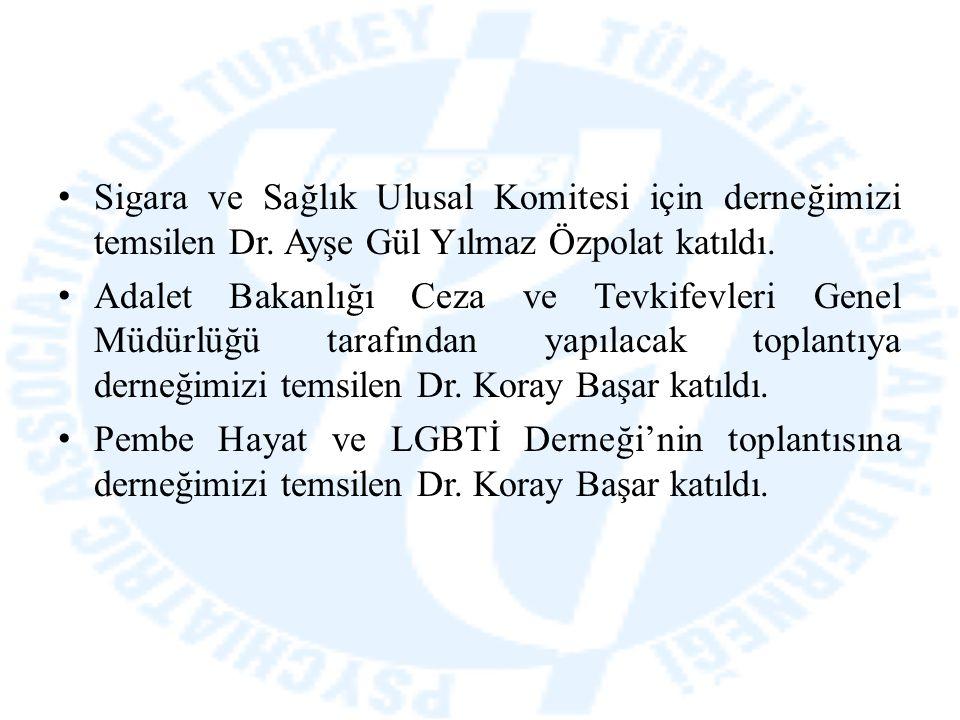 Sigara ve Sağlık Ulusal Komitesi için derneğimizi temsilen Dr. Ayşe Gül Yılmaz Özpolat katıldı. Adalet Bakanlığı Ceza ve Tevkifevleri Genel Müdürlüğü
