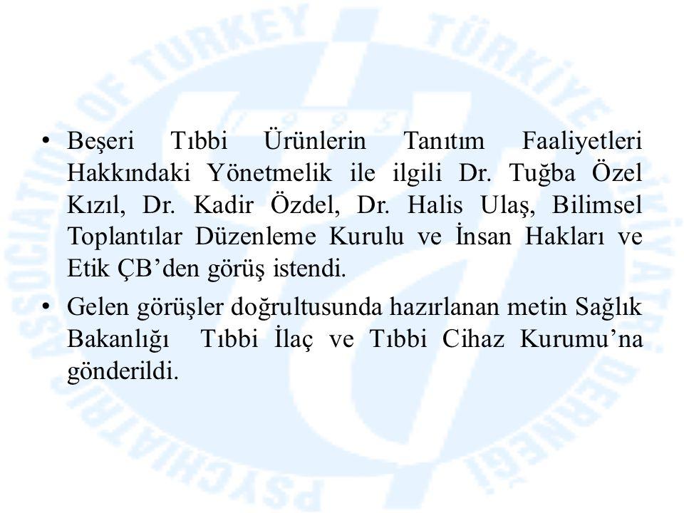 Beşeri Tıbbi Ürünlerin Tanıtım Faaliyetleri Hakkındaki Yönetmelik ile ilgili Dr. Tuğba Özel Kızıl, Dr. Kadir Özdel, Dr. Halis Ulaş, Bilimsel Toplantıl
