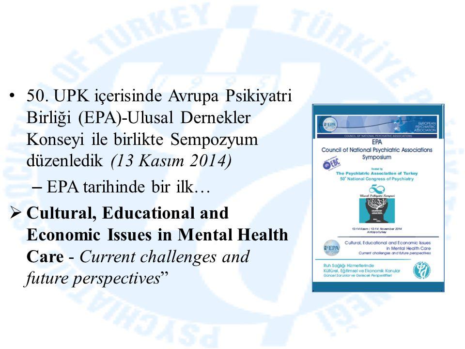 50. UPK içerisinde Avrupa Psikiyatri Birliği (EPA)-Ulusal Dernekler Konseyi ile birlikte Sempozyum düzenledik (13 Kasım 2014) – EPA tarihinde bir ilk…