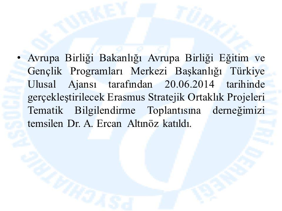 Avrupa Birliği Bakanlığı Avrupa Birliği Eğitim ve Gençlik Programları Merkezi Başkanlığı Türkiye Ulusal Ajansı tarafından 20.06.2014 tarihinde gerçekl