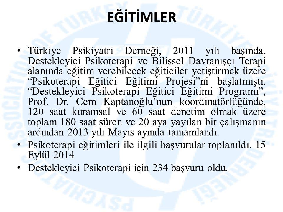 EĞİTİMLER Türkiye Psikiyatri Derneği, 2011 yılı başında, Destekleyici Psikoterapi ve Bilişsel Davranışçı Terapi alanında eğitim verebilecek eğiticiler