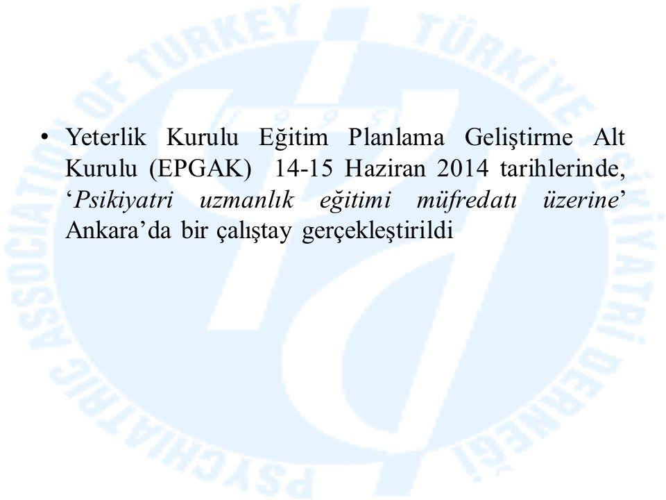 Yeterlik Kurulu Eğitim Planlama Geliştirme Alt Kurulu (EPGAK) 14-15 Haziran 2014 tarihlerinde, 'Psikiyatri uzmanlık eğitimi müfredatı üzerine' Ankara'