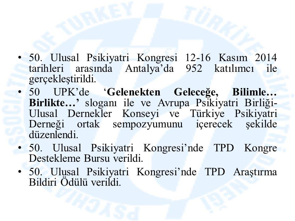 50. Ulusal Psikiyatri Kongresi 12-16 Kasım 2014 tarihleri arasında Antalya'da 952 katılımcı ile gerçekleştirildi. 50 UPK'de 'Gelenekten Geleceğe, Bili