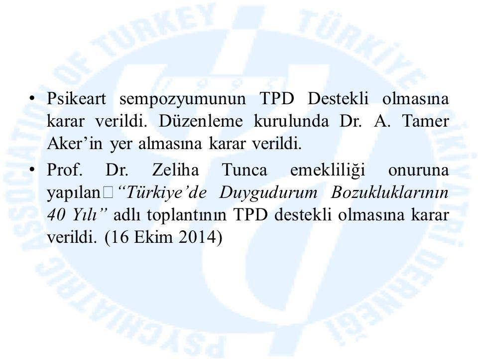 Psikeart sempozyumunun TPD Destekli olmasına karar verildi. Düzenleme kurulunda Dr. A. Tamer Aker'in yer almasına karar verildi. Prof. Dr. Zeliha Tunc