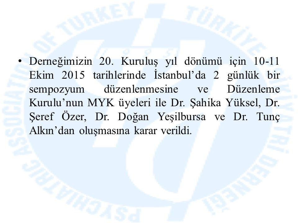 Derneğimizin 20. Kuruluş yıl dönümü için 10-11 Ekim 2015 tarihlerinde İstanbul'da 2 günlük bir sempozyum düzenlenmesine ve Düzenleme Kurulu'nun MYK üy