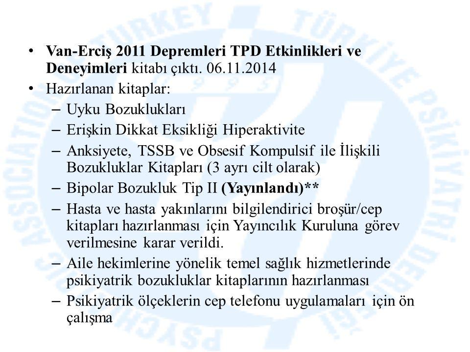 Van-Erciş 2011 Depremleri TPD Etkinlikleri ve Deneyimleri kitabı çıktı. 06.11.2014 Hazırlanan kitaplar: – Uyku Bozuklukları – Erişkin Dikkat Eksikliği
