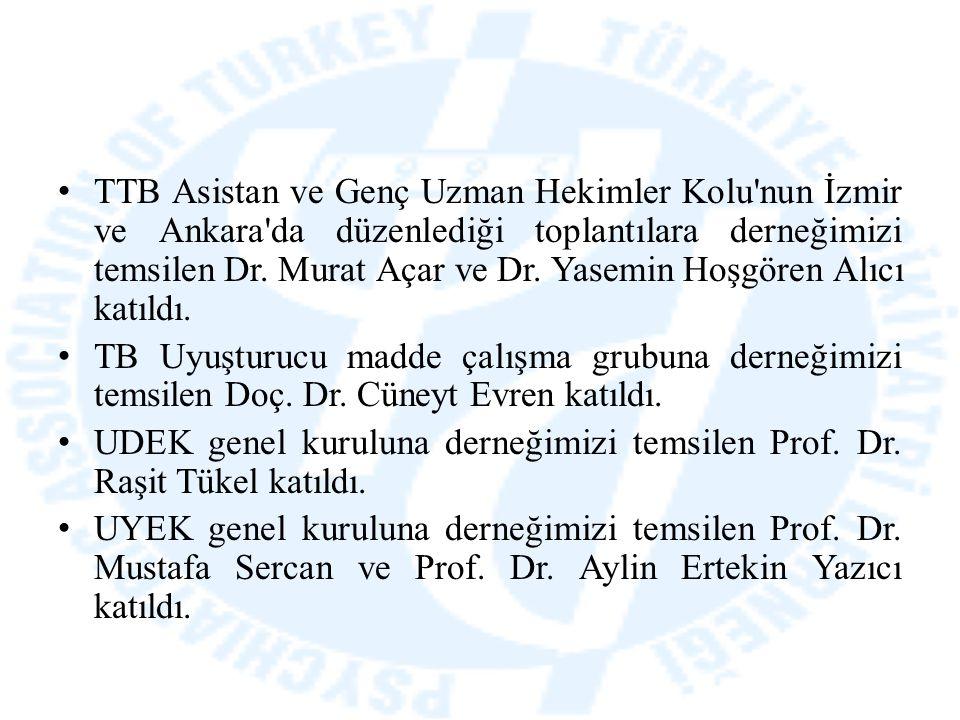 TTB Asistan ve Genç Uzman Hekimler Kolu'nun İzmir ve Ankara'da düzenlediği toplantılara derneğimizi temsilen Dr. Murat Açar ve Dr. Yasemin Hoşgören Al
