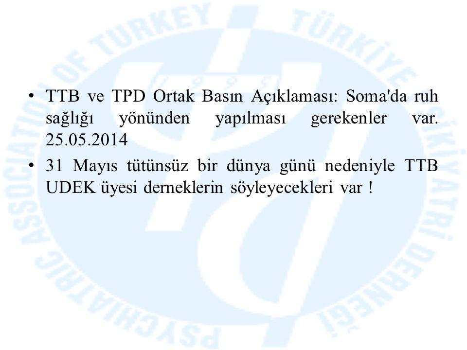 TTB ve TPD Ortak Basın Açıklaması: Soma'da ruh sağlığı yönünden yapılması gerekenler var. 25.05.2014 31 Mayıs tütünsüz bir dünya günü nedeniyle TTB UD