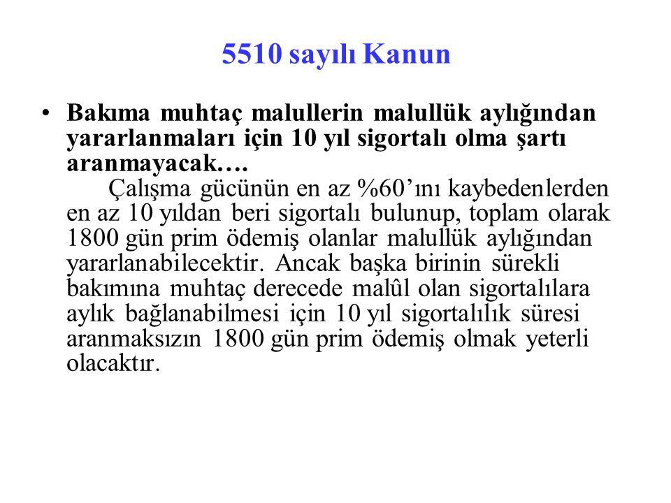 5510 sayılı Kanun Bakıma muhtaç malullerin malullük aylığından yararlanmaları için 10 yıl sigortalı olma şartı aranmayacak….