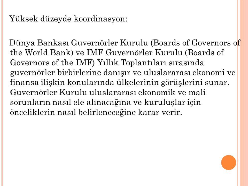 Yüksek düzeyde koordinasyon: Dünya Bankası Guvernörler Kurulu (Boards of Governors of the World Bank) ve IMF Guvernörler Kurulu (Boards of Governors of the IMF) Yıllık Toplantıları sırasında guvernörler birbirlerine danışır ve uluslararası ekonomi ve finansa ilişkin konularında ülkelerinin görüşlerini sunar.
