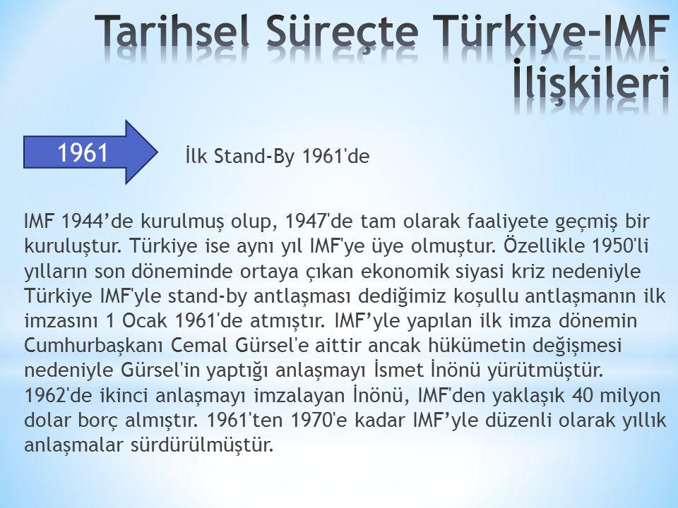 İlk Stand-By 1961 de IMF 1944'de kurulmuş olup, 1947 de tam olarak faaliyete geçmiş bir kuruluştur.