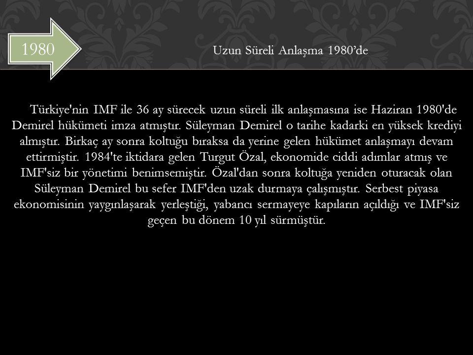 Uzun Süreli Anlaşma 1980'de Türkiye nin IMF ile 36 ay sürecek uzun süreli ilk anlaşmasına ise Haziran 1980 de Demirel hükümeti imza atmıştır.