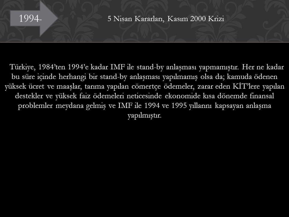 5 Nisan Kararları, Kasım 2000 Krizi Türkiye, 1984'ten 1994'e kadar IMF ile stand-by anlaşması yapmamıştır.