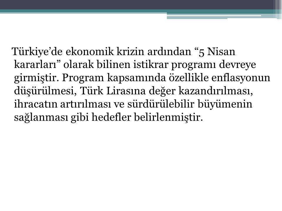Türkiye'de ekonomik krizin ardından 5 Nisan kararları olarak bilinen istikrar programı devreye girmiştir.