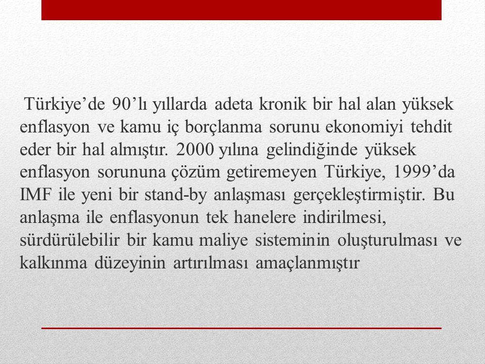 Türkiye'de 90'lı yıllarda adeta kronik bir hal alan yüksek enflasyon ve kamu iç borçlanma sorunu ekonomiyi tehdit eder bir hal almıştır.