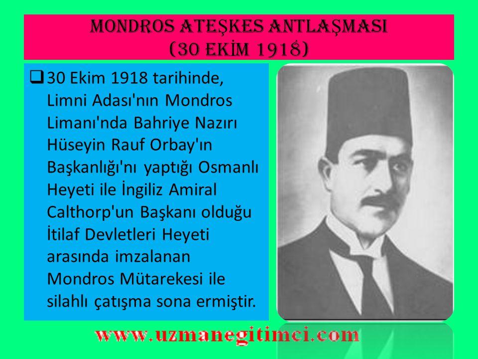 B)M İ LL İ VARLI Ğ A DÜ Ş MAN CEM İ YETLER 3-)Sulh ve Selameti Osmaniye Cemiyeti(Fırkası)  Aralık 1918 de kurulan dernek, 14 Ocak 1919 da siyasi partiye dönüştü.