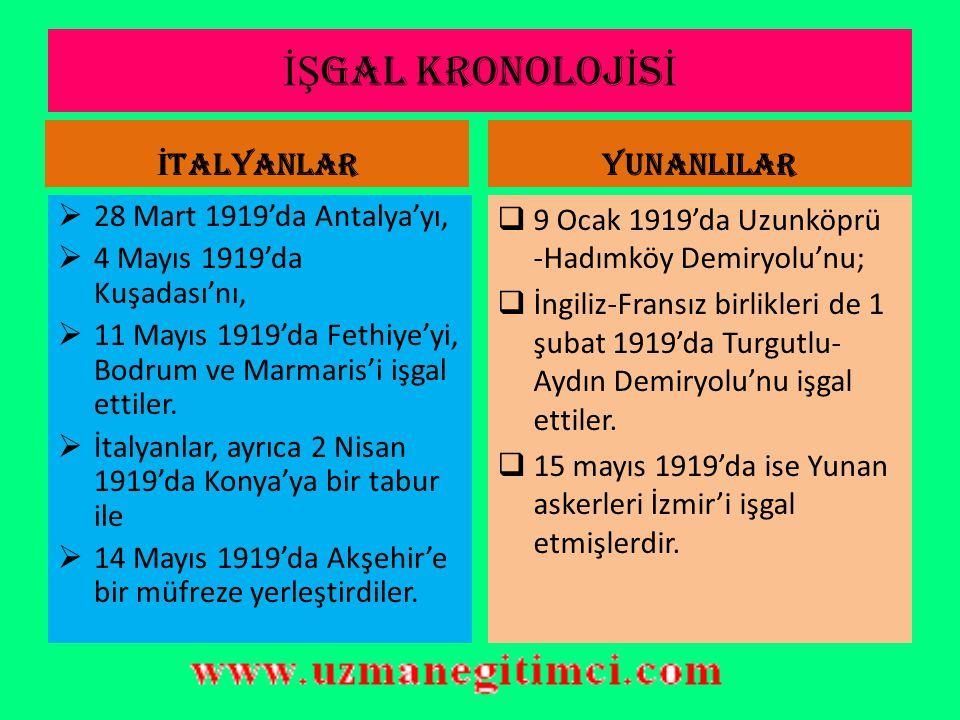 İŞ GAL KRONOLOJ İ S İ FRANSIZLAR  11 Aralık 1918'de Dörtyol'u,  17 Aralık 1918'de Mersin'i,  26 Aralık 1918'de Pozantı'ya kadar bütün Adana vilayet