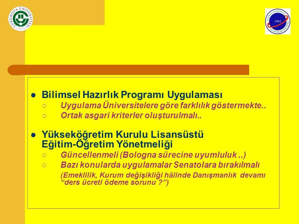 Bilimsel Hazırlık Programı Uygulaması ○Uygulama Üniversitelere göre farklılık göstermekte.. ○Ortak asgari kriterler oluşturulmalı.. Yükseköğretim Kuru