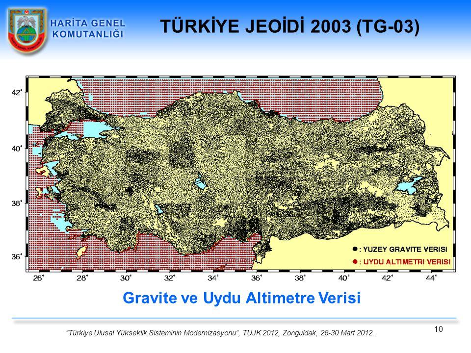 """""""Türkiye Ulusal Yükseklik Sisteminin Modernizasyonu"""", TUJK 2012, Zonguldak, 28-30 Mart 2012. 10 Gravite ve Uydu Altimetre Verisi TÜRKİYE JEOİDİ 2003 ("""