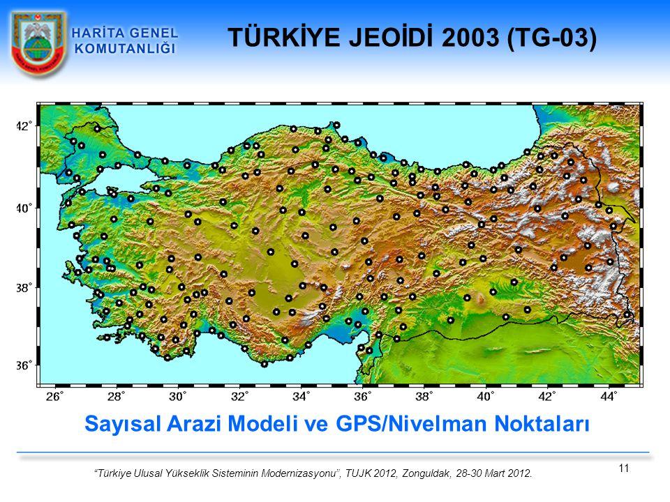 """""""Türkiye Ulusal Yükseklik Sisteminin Modernizasyonu"""", TUJK 2012, Zonguldak, 28-30 Mart 2012. 11 Sayısal Arazi Modeli ve GPS/Nivelman Noktaları TÜRKİYE"""