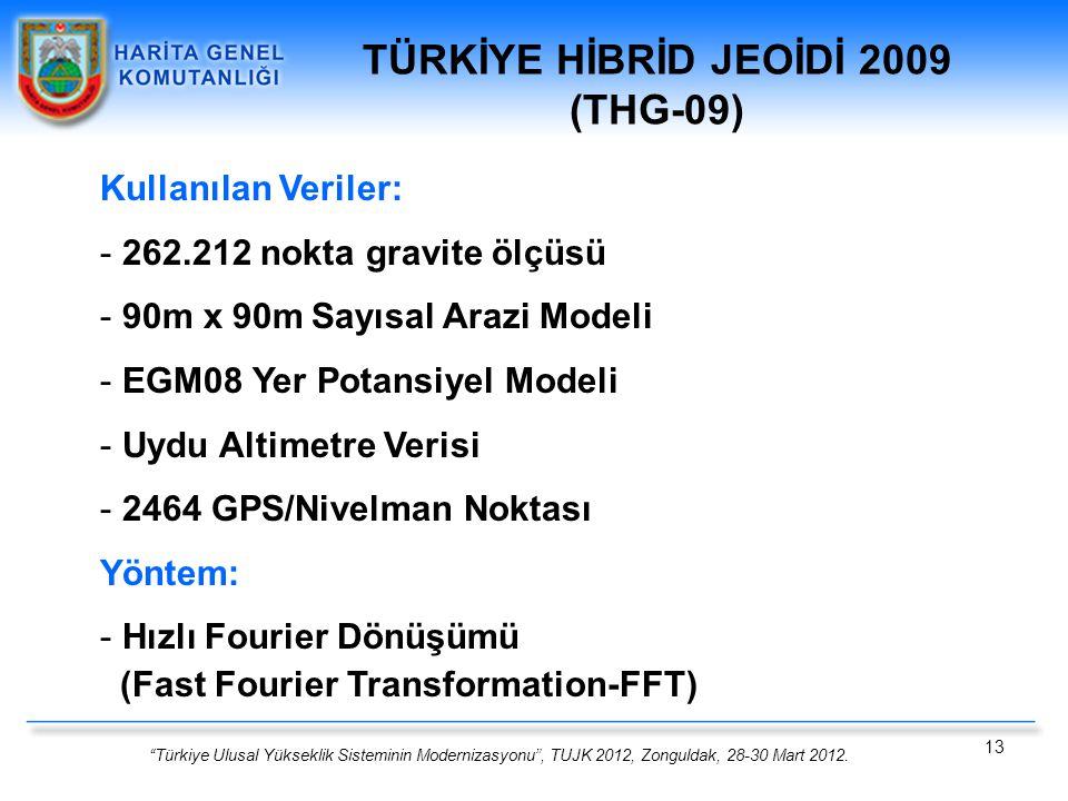 """""""Türkiye Ulusal Yükseklik Sisteminin Modernizasyonu"""", TUJK 2012, Zonguldak, 28-30 Mart 2012. 13 Kullanılan Veriler: - 262.212 nokta gravite ölçüsü - 9"""