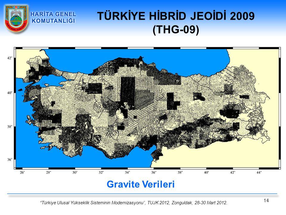 """""""Türkiye Ulusal Yükseklik Sisteminin Modernizasyonu"""", TUJK 2012, Zonguldak, 28-30 Mart 2012. 14 Gravite Verileri TÜRKİYE HİBRİD JEOİDİ 2009 (THG-09)"""