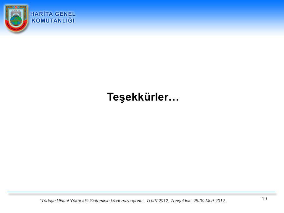 """""""Türkiye Ulusal Yükseklik Sisteminin Modernizasyonu"""", TUJK 2012, Zonguldak, 28-30 Mart 2012. 19 Teşekkürler…"""