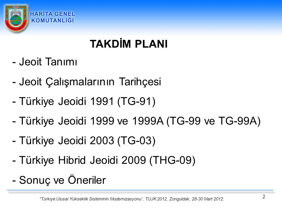 """""""Türkiye Ulusal Yükseklik Sisteminin Modernizasyonu"""", TUJK 2012, Zonguldak, 28-30 Mart 2012. 2 TAKDİM PLANI - Jeoit Tanımı - Jeoit Çalışmalarının Tari"""